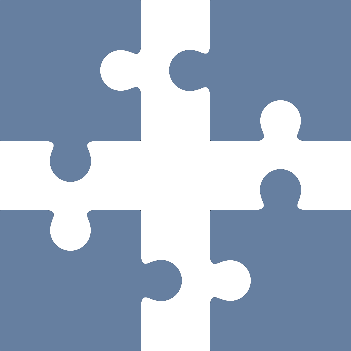 Icon of four puzzle pieces that fit together
